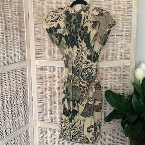 Vintage animal print knit dress
